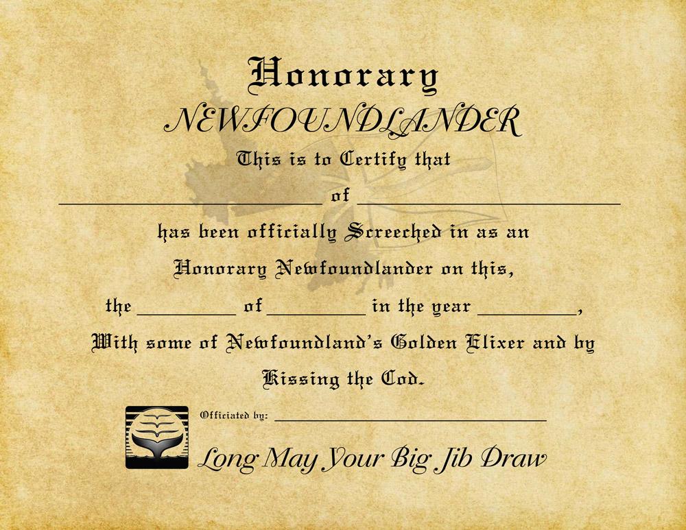 Screech In Certificate