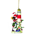 Ornament - Santa and Moose at Lighthouse