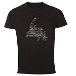 Mens - T Shirt -   Newfoundland Place Names Map - Black w white lettering