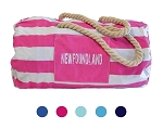 Tote Bag - Striped Weekender  Rope Strap - Newfoundland