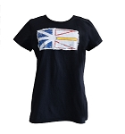 Ladies  T Shirt - Vintage Newfoundland  Flag - Black