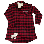Flannel - Night Shirt - Newfoundland - Moose Silhouette - Red Checkered