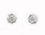 Stud Earrings - Ship's Wheel - Silvertone
