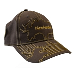 Newfoundland - Applique Moose  Cap - Brown w Gold Stitching