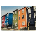 Cutting Board - Glass - Rowhouses: Red, Blue, Green Yellow