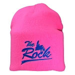 Touque - The Rock w Blue lettering  - Neon Pink