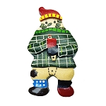 Wooden Mummer With Newfoundland Tartan Jacket - Magnet 2.5