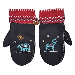 Mittens - Inuk - Faux Suede - Red and Black