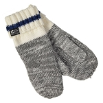 Mittens - With Newfoundland Flag - Grey and Beige with Blue Stripe