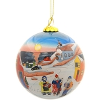 Hand Painted - Glass Bulb - Mummers are Coming - With Velvet Gift Box -3