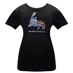 Ladies - T Shirt -  Newfoundland  Flag Map w Rhinestones - Black