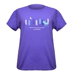 Ladies -  T Shirt - Woods with Moose - Purple