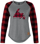 Ladies Long sleeve shirt - Red  Plaid Map of Newfoundland