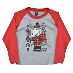 Kids - Long Sleeve T shirt - Moose with  Red Plaid Shirt - 1867 Newfoundland & labrador - Grey with Red Trim