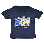 Kids T shirt - Distressed Newfoundland Flag - Newfoundland Labrador - Navy
