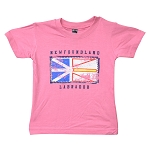 Kids T shirt - Distressed Newfoundland Flag - Newfoundland Labrador - Pink