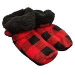 Fleece Red Check - Slippers Boots S/M