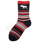 Socks - Stripped with Moose - Medium - 6 -11