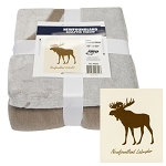 Throw - Faux Fur - Sculpted Moose - 50 x 60 - Brown