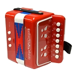 Mini Button - Little Red Accordion - Includes Learn to Play Instructions and Songs