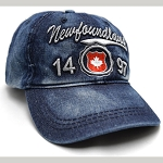 2f9ce82ca0934 Cap - Newfoundland 1497 w Maple Leaf Crest - Blue Denim