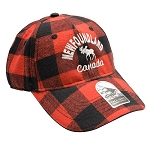 Newfoundland w Moose Canada - Red Plaid Cap