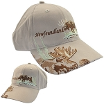 Newfoundland  &  Labrador - Moose on  Brim  - Cap - Tan