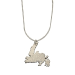 Pendant - Sterling Silver Newfoundland Map with Chain  - 22 cm long