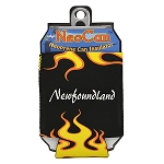Neopreme Can Holder - Black w Flames -  Newfoundland