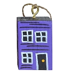 Ornament - Hand-Painted - Block Rowhouse - Purple