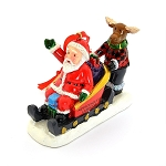 Ornament - Moose Pushing Santa in Sleigh - 3 1/2