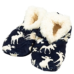 Slippers - Fuzzy Feet - Moose Silhouette L/XL (7-9) Navy