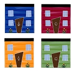 Wooden Coasters - Downtown Rowhouses - Hand Painted - 4pkg
