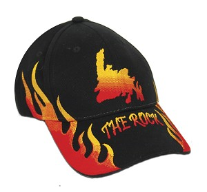 The Rock with Flames - Cap - Black