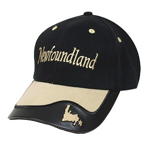 Two Tone with Vinyl Trim -  Map of Newfoundland   - Cap - Black
