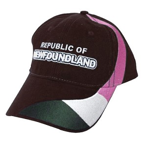 Republic of Newfoundland Flag Wrap with Text - Cap - Black