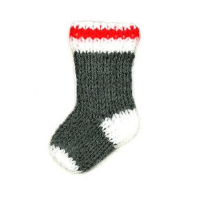 Ornament - Hand crafted Sock - 3""
