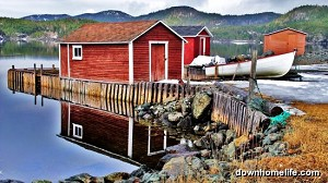 Canvas Photo - 8 x 10 - Red Fishing Stage - So Colourful