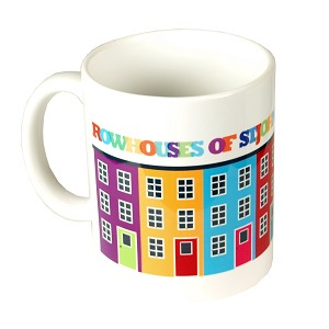 Rowhouses of St. John's, Newfoundland Mug - Bright colours