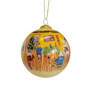 Ornament - Hand Painted Bulb - Mummers Kitchen Party - Comes with Velvet gift Box - 3""