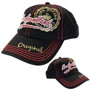Newfoundland -  Canada Stamp -  Cap - Red Stitching - Black