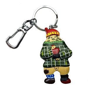 Wooden Mummer With Newfoundland Tartan Jacket -  Key Chain - 5""