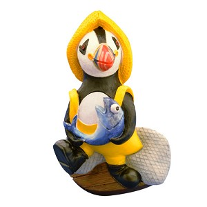 Magnet - Puffin w Fish - 3""