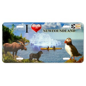 Metal - Licence Plate  - I luv Newfoundland - Puffin, Moose, NL Dog