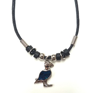 Necklace - Puffin on Black Cord - 9""