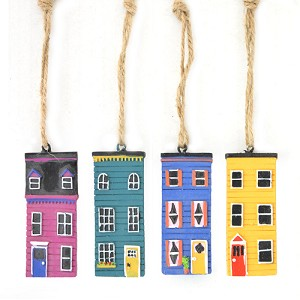 "Ornament - Newfoundland  Rowhouse: Pink, Green, Blue and Yellow -  4 Pk - 2 1/2"" x 1"""