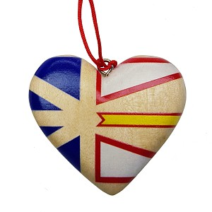 Wooden Heart with Newfoundland Flag -  Ornament - 2""