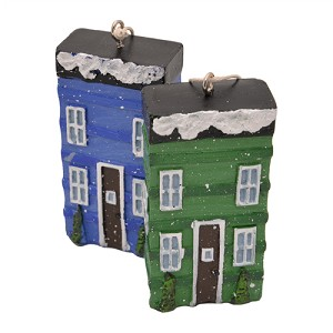 "Ornament - Row Houses - Blue and Green - 3"" x 1.5"""