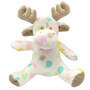 Plush -  Super Soft - Moose - White with Polka Dots - Ages 0 and up - 12 1/2""