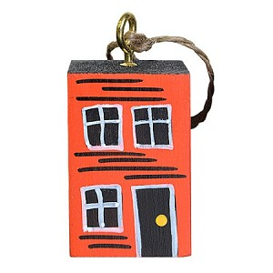 Ornament - Hand-Painted - Block Rowhouse - Orange